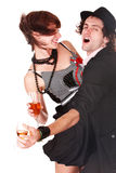 Couple man and girl with wine dance. Stock Photo