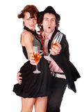 Couple man and girl with wine dance. Royalty Free Stock Photo