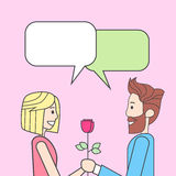Couple Man Give Woman Rose Flower Royalty Free Stock Photography