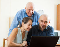 Couple with  man in internet Stock Photo