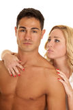 Couple man no shirt woman behind hand on  chest Stock Images