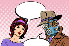 Couple man robot and beautiful woman Royalty Free Stock Photography