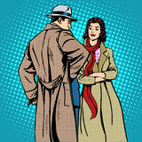Couple man and woman autumn winter clothes Royalty Free Stock Images