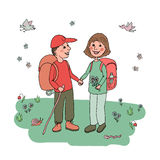 Couple man and woman with backpacks engaged in eco tourism. Against the background of flowers, butterflies and wildlife. Cute illustration in cartoon style Stock Image