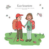 Couple man and woman with backpacks engaged in eco tourism. Against the background of flowers, butterflies and wildlife. Cute illustration in cartoon style Royalty Free Stock Photography