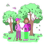 Couple man and woman with backpacks engaged in eco tourism. Against the background of the forest, flowers and birds. Cute illustration in cartoon style Royalty Free Stock Photography