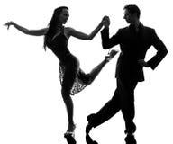 Couple man woman ballroom dancers tangoing Royalty Free Stock Photography