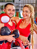 Couple Man and  Woman  Boxing in Ring Stock Images