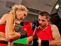 Couple Man and  Woman  Boxing in Ring Royalty Free Stock Images