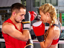 Couple Man and  Woman  Boxing in Ring. Stock Photo
