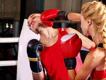 Couple Man and  Woman  Boxing in Ring. Stock Photography