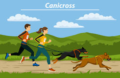 Couple, Man and Woman cani crossiing with their dogs outdoor. Couple, Man and Woman cani crosiing with their dogs in nature landscape vector illustration vector illustration