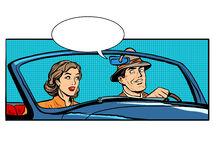 Couple man and woman in convertible car. Pop art retro style. The driver and passenger. Transport on the road vector illustration