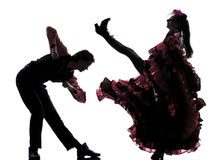 Couple man woman dancer dancing french cancan Stock Photos