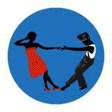 Couple man and woman dancing, vintage dance, black silhouettes and color dress up. Vector sign, icon, ads, promo, banner, illustration Royalty Free Stock Image