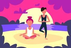 Couple man woman doing yoga exercises sunset beach background male female sport activity cartoon character full length vector illustration