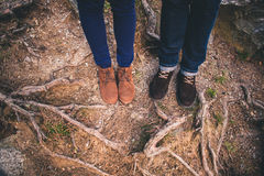 Couple Man and Woman Feet in forest nature Royalty Free Stock Photos