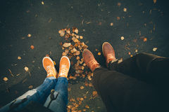 Couple Man and Woman Feet in Love Romantic Outdoor Royalty Free Stock Image