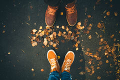 Couple Man and Woman Feet in Love Romantic Outdoor Royalty Free Stock Photography