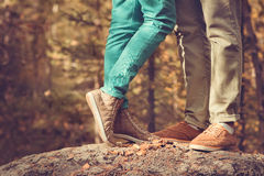 Couple Man and Woman Feet in Love Romantic  Outdoor Lifestyle Stock Images