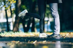 Couple Man and Woman Feet in Love. Happy young family concept. Lifestyle with nature on background. Royalty Free Stock Images