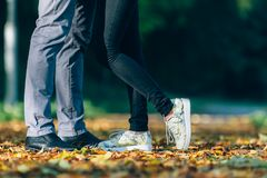 Couple Man and Woman Feet in Love. Happy young family concept. Lifestyle with nature on background. Royalty Free Stock Photo