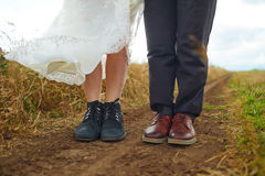 Couple man and woman feet in love romantic outdoor. Royalty Free Stock Photos