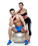 Couple man and woman fitness exercises isolated Royalty Free Stock Photo