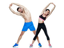 Couple man and woman fitness exercises isolated Royalty Free Stock Images