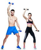 Couple man and woman fitness exercises isolated Stock Photos