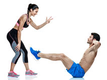 Couple man and woman fitness exercises isolated Stock Photography