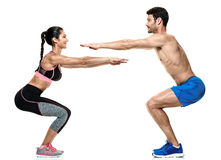 Couple man and woman fitness exercises isolated Stock Image