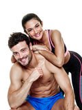 Couple man and woman fitness exercises isolated Stock Images