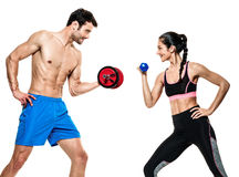 Couple man and woman fitness exercises isolated Royalty Free Stock Photos
