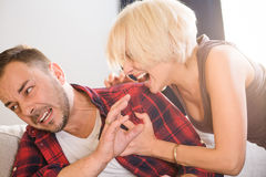 Couple man and woman having conflict at home Stock Images