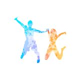 Couple man and woman holding hands jump colorful Stock Photography
