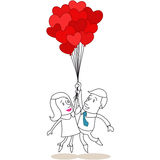 Couple man woman in love balloons Royalty Free Stock Photography