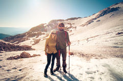 Couple Man and Woman in love hiking outdoor Travel Stock Photos