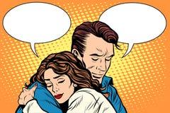 Couple man and woman love hug vector illustration