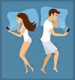Couple, man and woman lying apart in the bed with smartphones. Illustration Royalty Free Stock Image