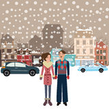 Couple man woman male female standing in snow falling winter town wearing jacket car on street city. Flat Stock Images