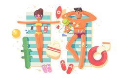 Couple man and woman resting on beach Stock Photos
