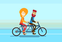 Couple Man Woman Ride Tandem Bicycle Royalty Free Stock Photo