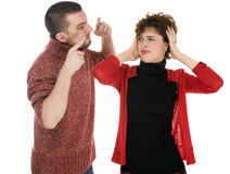 Couple man and woman scandal, domestic violence, divorce Royalty Free Stock Image