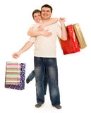 Couple man and woman with shopping bag Royalty Free Stock Image