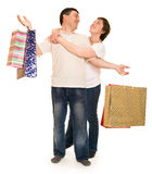 Couple man and woman with shopping bag Stock Image