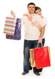 Couple man and woman with shopping bag Stock Photography