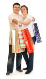 Couple man and woman with shopping bag Stock Images
