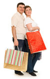Couple man and woman with shopping bag Stock Photos