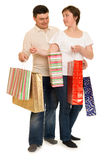 Couple man and woman with shopping bag Royalty Free Stock Photo